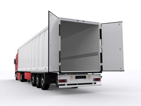 열린 트레일러와 트럭 스톡 콘텐츠