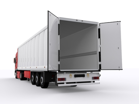 semi trailer: truck with open trailer