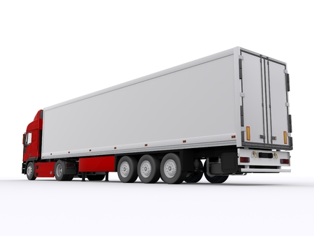 truck with white trailer photo