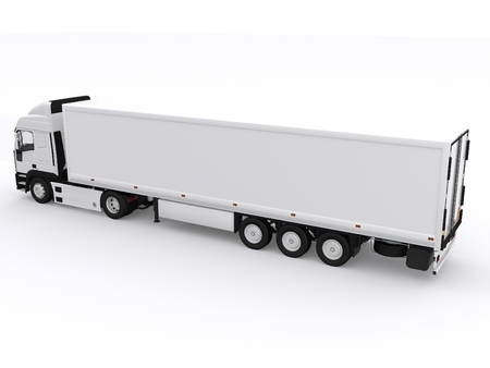 white truck with white trailer