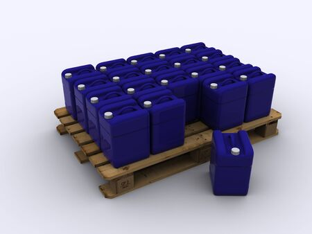 wooden pallet with plastic container