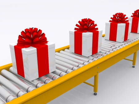 conveyor with present boxes photo