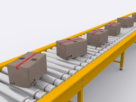 conveyor with boxes photo