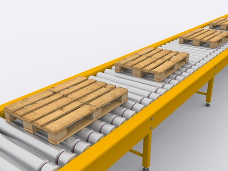 conveyor with cargo woods photo