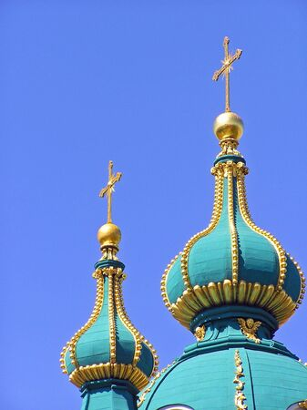 russian orthodox crosses on a church