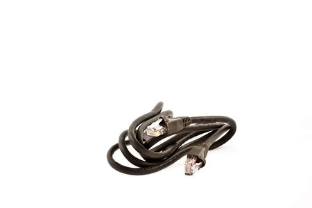 hasp: hasp of black internet cable on a white background