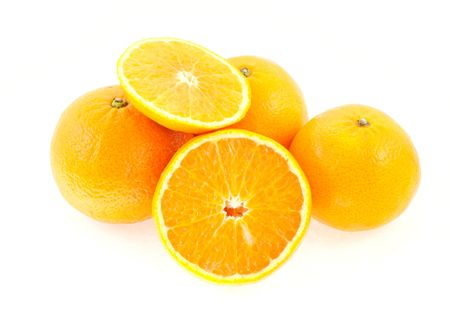 entire: three entire and one cut mandarin on white background