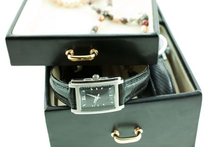 black with silver female watches in a jewelery case. white background photo