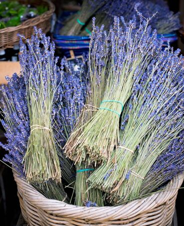 Dry Lavender Bunches in basket for Sale at street market photo
