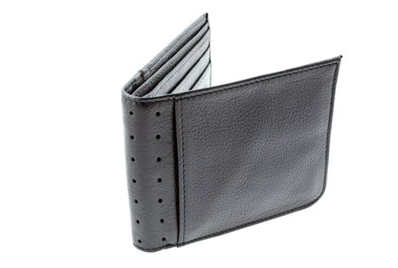 new black leather wallet isolated. horizontal shot