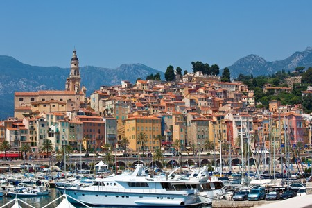 view of Menton town, France.  horizontal shot Stock Photo