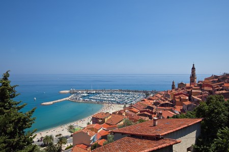 menton: view of Menton town, France.  horizontal shot Stock Photo