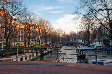 Amsterdam canals winter sunny view. horizontal shot