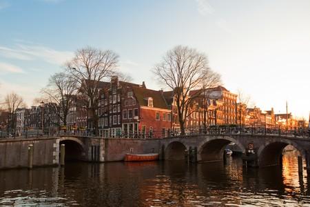 Amsterdam canals winter sunny view. horizontal shot photo