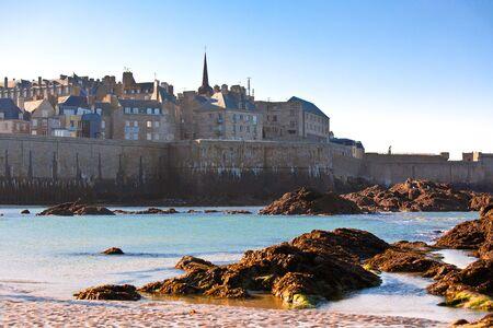 Saint Malo from the sea. horizontal shot Stock Photo