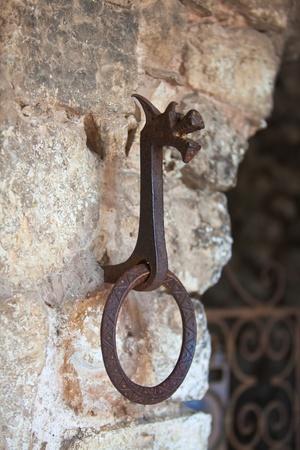 dragon vertical: Old iron doorhandle, dragon shaped. Vertical shot Stock Photo