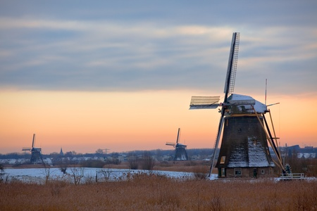 Kinderdijk landscape with Windmills in Winter. Horizontal shot photo