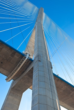 Normandy bridge Up view (Pont de Normandie, France). Vertical shot Editorial