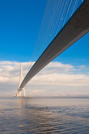 Normandy bridge view (Pont de Normandie, France). Vertical shot