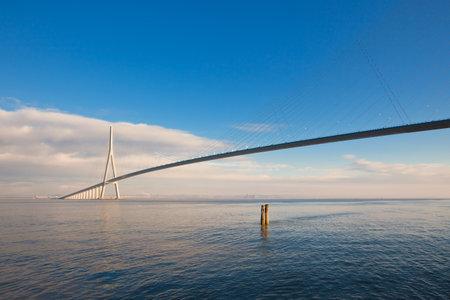 Normandy bridge view (Pont de Normandie, France). horizontal shot