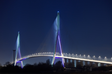 Normandy bridge night view (Pont de Normandie, France). horizontal shot