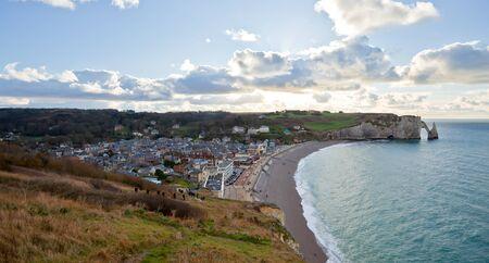 Etretat view, Normandy, France. Horizontal shot photo