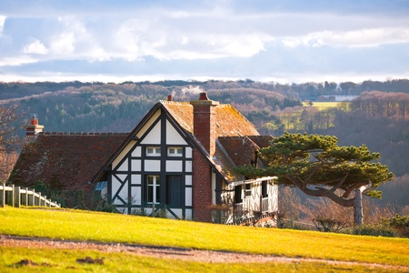 rural landscape: farmhouse on a hill. horizontal shot Stock Photo - 8351806