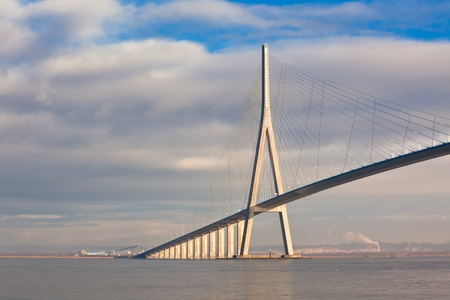 Normandy bridge view (Pont de Normandie, France). horizontal shot