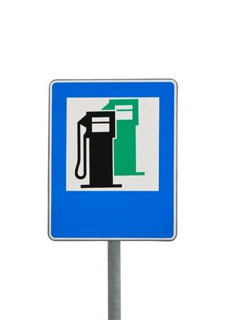 road sign petrol station isolated on white background Stock Photo