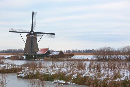 windmills in Kinderdijk, Netherlands at winter. another Kinderdijk shots available photo