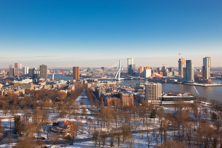 Rotterdam view from Euromast tower at winter sunny day. another  Rotterdam views available photo