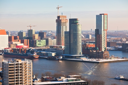 Rotterdam view from Euromast tower at winter sunny day. another  Rotterdam views available Stock Photo