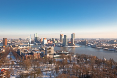 euromast: Rotterdam view from Euromast tower at winter sunny day. another  Rotterdam views available Stock Photo