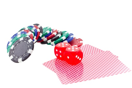 poker chips, cards and red dice cubes isolated on white background. another similar shots available