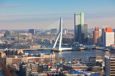 Rotterdam view from Euromast tower at winter sunny day. another  Rotterdam views available Standard-Bild