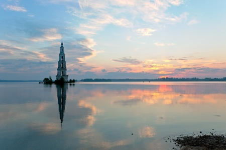 In 1940s the monastery and most of the old Kalyazin town (Russia) were flooded during the construction of the Uglich Reservoir Stock Photo