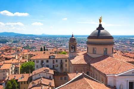 Roofs of the buildings in the city centre of Bergamo. Bright summer shot