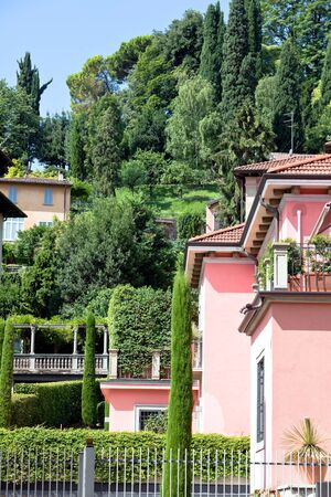 italian villas in Bergamo town. vertical shot photo