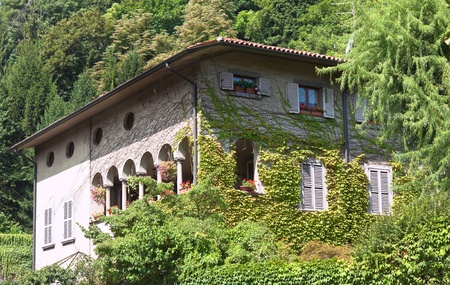 Italian Villa in Bergamo town. summer day shot. photo
