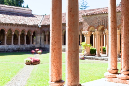 Italian church court cloister with marble columns. small GRIP shot