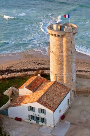 re: Old Lighthouse at Re Island, West France. Vertical shot Stock Photo