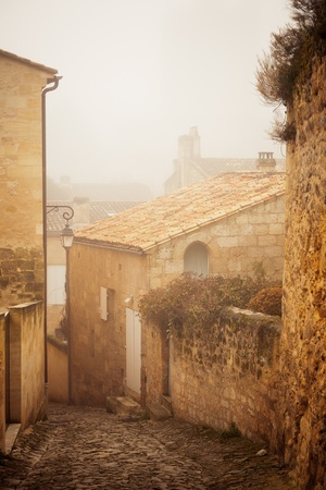 Street in Saint Emilion, Gironde, Aquitaine, France. Toned and vignetted image photo