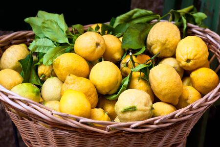 basket with ripe lemons. closeup, small GRIP Stock Photo - 10903286