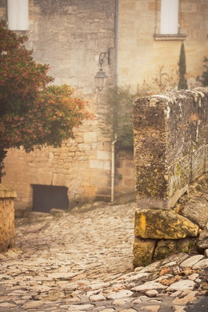 Street in Saint Emilion, Gironde, Aquitaine, France. Toned and vignetted image