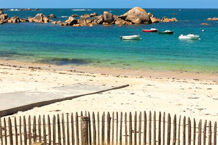 Turquoise sea and bright fisherman boats in Bretagne Stock Photo - 11499491