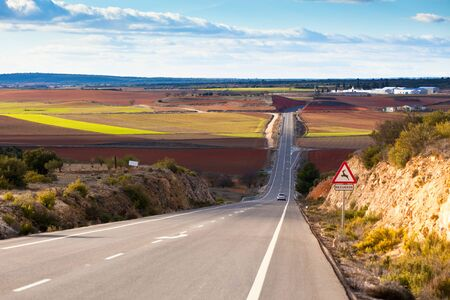 Landscape picture of empty country road in winter Spain Stock Photo - 14283393