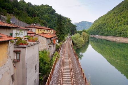 Railway along the river at Borgo a Mozzano, Tuscany, Italy photo