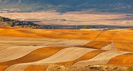 Fields and hills of Castilla-La Mancha, Spain at winter