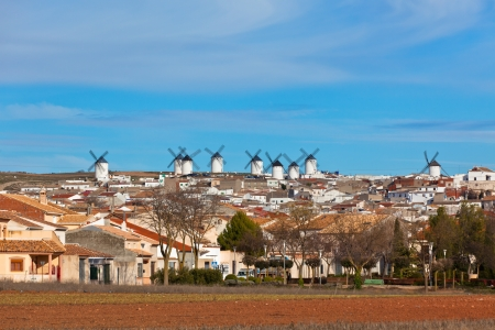 Old Spanish windmills view, Campo de Criptana, Castilla la Mancha province, Spain photo