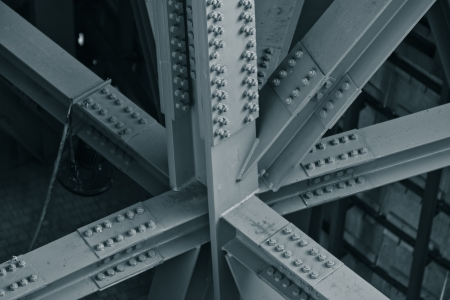 steel construction: Bridge frame closeup. Horizontal toned image